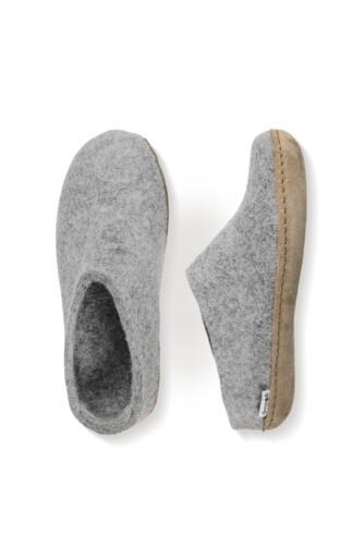 Glerups tøffel i filt - lædersål - Pris: 500,-